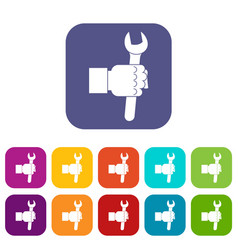 wrench tool in man hand icons set flat vector image