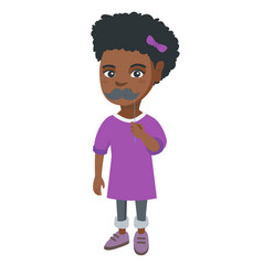 little african-american girl with a fake mustache vector image vector image