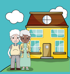 Old couple together next their house vector