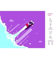 Success businessman is flying on the rocket vector image