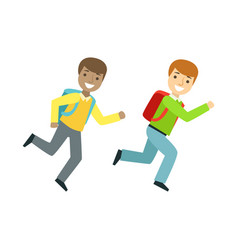 two boys running to the classroom part of school vector image vector image