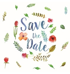 Watercolor leaves wedding invitation vector image vector image