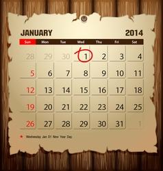 Wood calendar 2014 happy new year vector