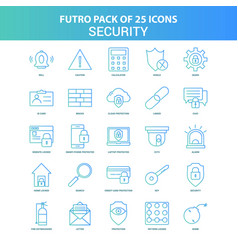 25 green and blue futuro security icon pack vector image