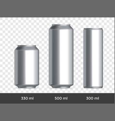 3d can mockup aluminium beer or soda can blank vector image