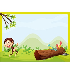 A monkey and two birds vector image