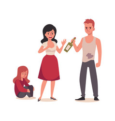 Alcohol addiction and family conflict flat vector