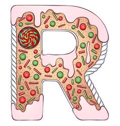 Alphabet gingerbread letter r vector
