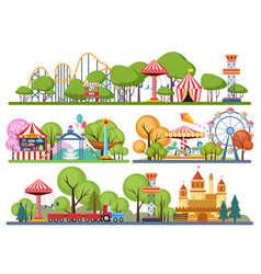 amusement park horisontal banners volumetric vector image