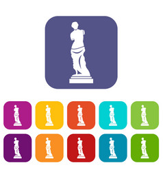ancient statue icons set vector image