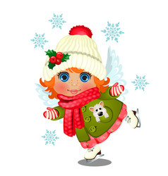 animated cute little girl in winter clothes vector image