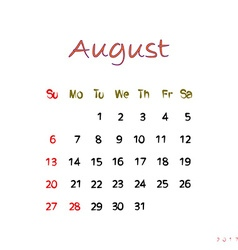 august 2017 vector image