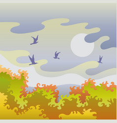autumn landscape with birds vector image