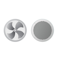 Axial fan and round ventilation grille vector