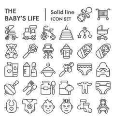 baby s life line icon set newborn symbols vector image