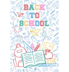Back to school color backpack with children doodle vector