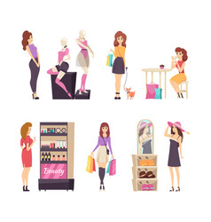 beauty stand with cosmetics shopping set vector image