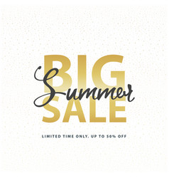big summer sale gold sign in white golden glitter vector image