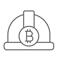 bitcoin miner hat thin line icon finance money vector image