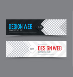 black and white horizontal web banner template vector image