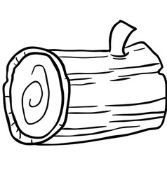 Black and white wood log cartoon vector