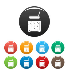 blackberry smoothie icons set color vector image