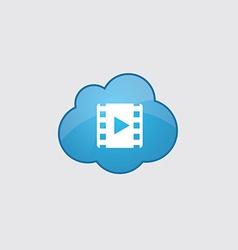 Blue cloud media icon vector