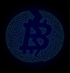 broken bitcoin polygonal frame mesh vector image