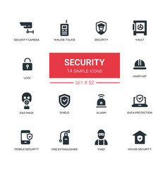 Business concept security - line design icons set vector