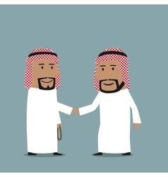 business handshake arab businessmen vector image