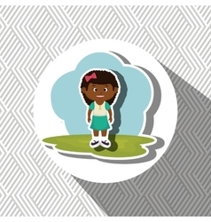 cartoon girl meadow green vector image
