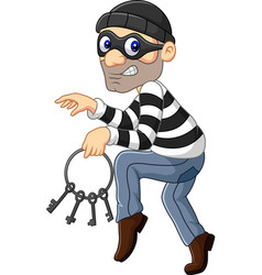 Cartoon thief carrying a bunch skeleton keys vector