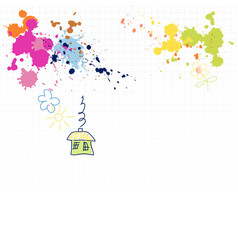 childrens drawings and blots on a squared vector image