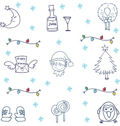 Christmas ornament set in doodle vector