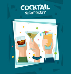 Cocktail party poster alcoholic cocktail drinks vector