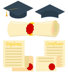 Colorful cartoon graduation set 5 elements vector
