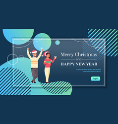 couple drinking champagne merry christmas and vector image