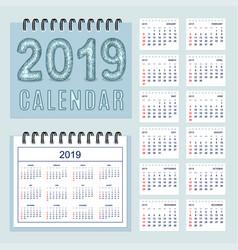 creative calendar with zen patterned number 2019 vector image