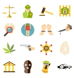 Crimonal icons set cartoon style vector