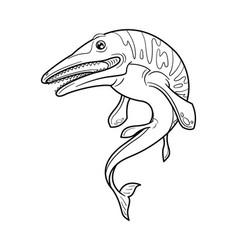 Cute cartoon dinosaur mosasaurus character vector