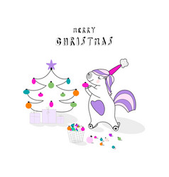 Cute unicorn xmas vector