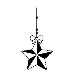 decorative star with bow hanging vector image