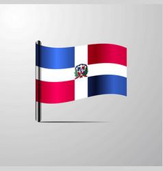 Dominican republic waving shiny flag design vector