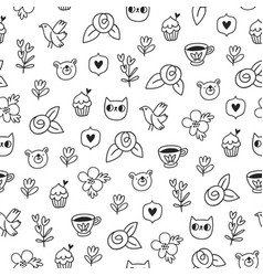 Doodle bear cat and a bird outline pattern vector