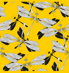 Dragonfly odonata hand drawn seamless pattern vector