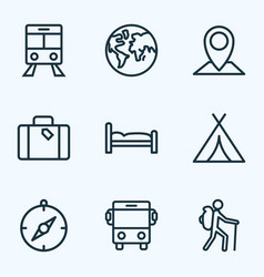 Exploration outline icons set collection of map vector