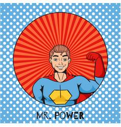 figure cartoon superhero with power gesture on vector image