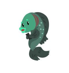 fish with smartphone cute animal cartoon vector image