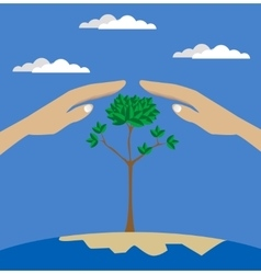 Flat style of two hands protecting tree vector