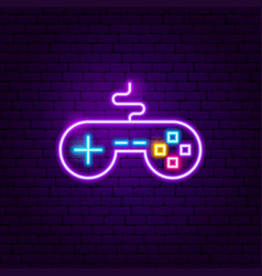 game controller neon sign vector image